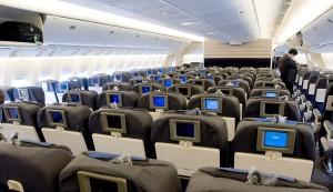 Пассажирский салон авиалайнера Boeing 747