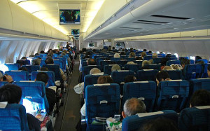 Пассажирский салон авиалайнера McDonnell-Douglas MD-11 ,