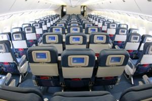 Пассажирский салон авиалайнера Boeing 767